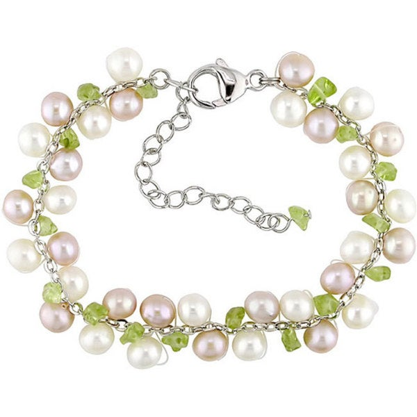Miadora Silver Cultured Freshwater Pearl Peridot Bracelet