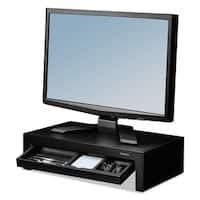 Fellowes Adjustable Monitor Riser with Storage Tray 16 x 9 3/8 x 6 Black Pearl