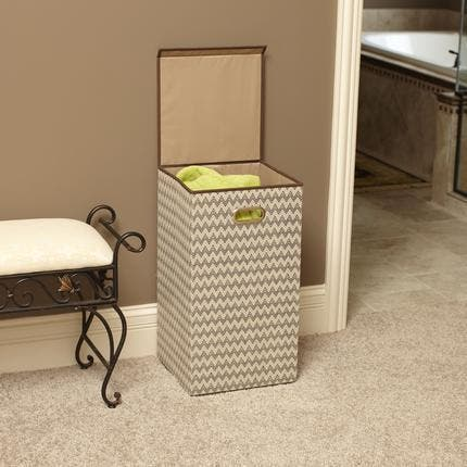 Household Essentials Collapsible Single Laundry Hamper with Magnetic Lid Chevron