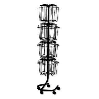 Safco Wire Rotary Display Racks 16 Compartments 15-inch wide x 15-inch deep x 60-inch high Charcoal