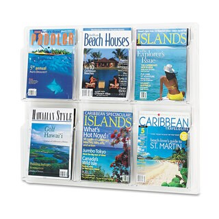 Safco Reveal Clear Literature Displays Six Compartments 30-inch wide x 2-inch deep x 24-1/2-inch high Clear
