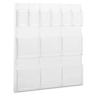 Safco Reveal Clear Literature Displays 12 Compartments 30-inch wide x 2-inch deep x 34-3/4-inch high Clear