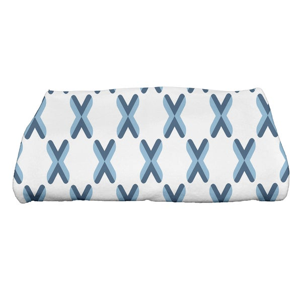 28 x 58-inch, Criss Cross, Geometric Print Bath Towel