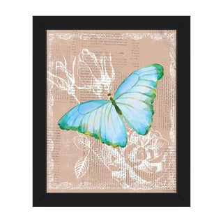 Butterfly on Brown Framed Canvas Wall Art Print