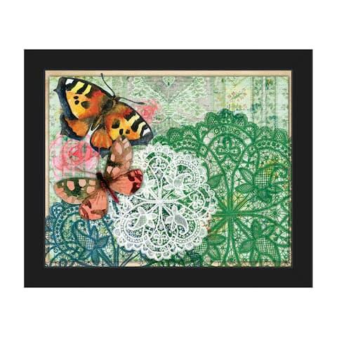 Aqua Doilies & Butterflies Framed Canvas Wall Art