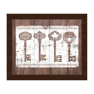 Shabby Keys Brown Framed Canvas Wall Art Print