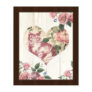 Cat Heart on Beige Framed Canvas Wall Art Print