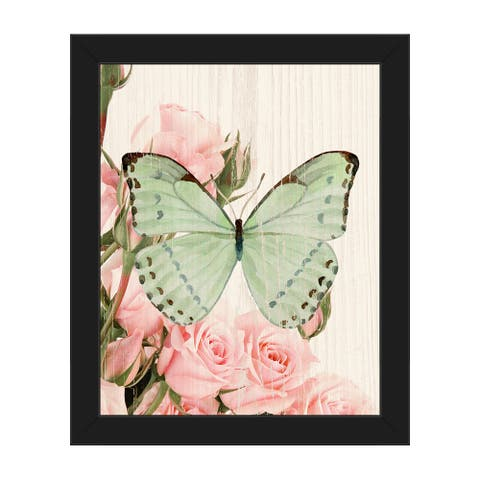 Butterfly and Roses Garden Framed Canvas Wall Art