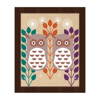 Retro Owls Orange Framed Canvas Wall Art Print