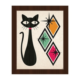 Retro Cat With Diamonds Framed Canvas Wall Art