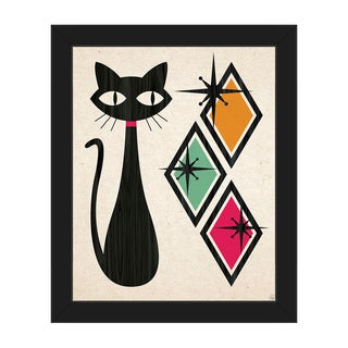 Retro Cat With Diamonds Framed Canvas Wall Art