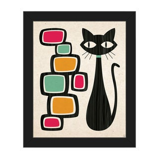 Retro Cat With Bubbles Framed Canvas Wall Art