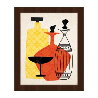 Retro Glass Red And Yellow Framed Canvas Wall Art