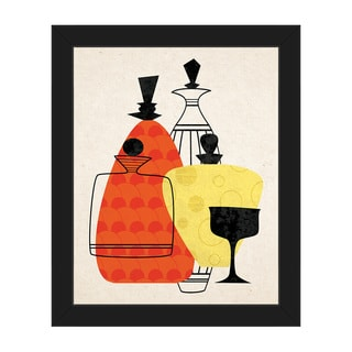 Retro Bottles Red & Yellow Framed Canvas Wall Art