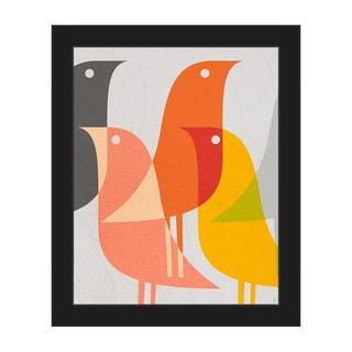 Retro Bird Caravan Framed Canvas Wall Art Print