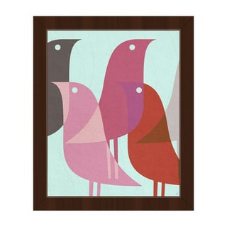 Retro Bird Caravan Pink Framed Canvas Wall Art