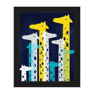 Giraffe Social Main Framed Canvas Wall Art Print