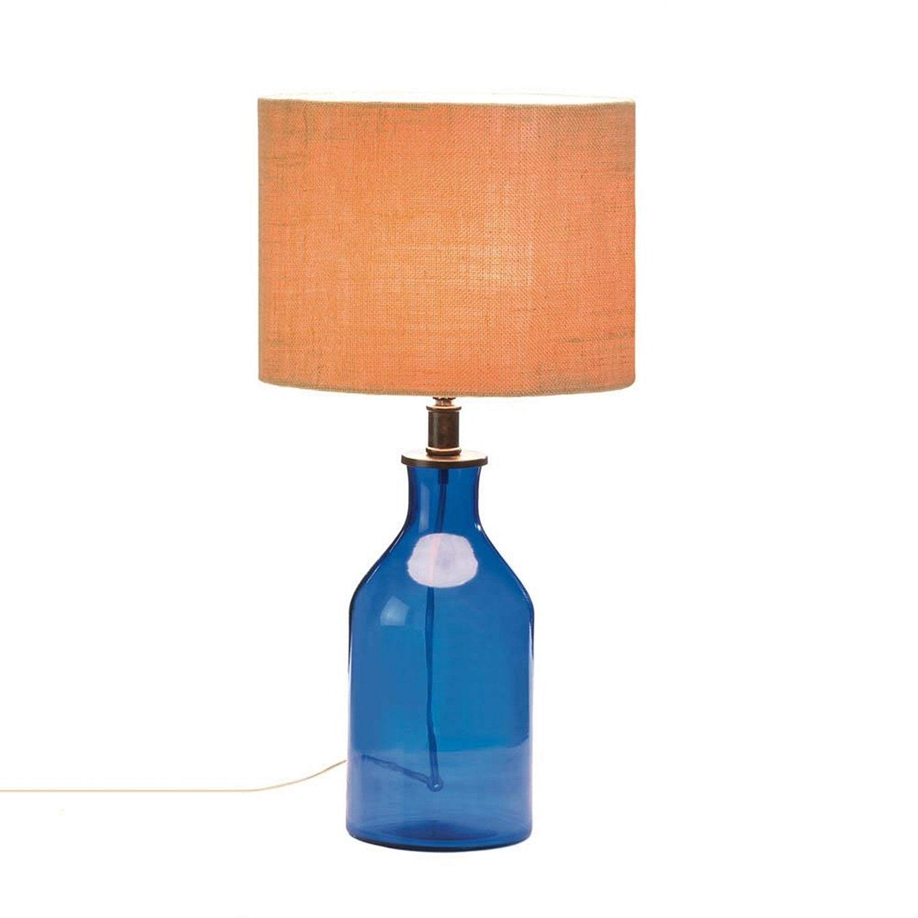 Skyline Regal Blue Glass Table Lamp (Fabric)