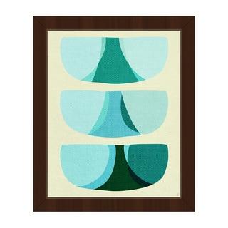 Retro Shape Art Blue Framed Canvas Wall Art Print