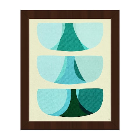 Retro Shape Art Blue Framed Canvas Wall Art Print