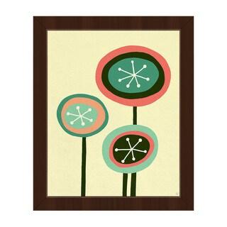 Retro Flowers Springtime Framed Canvas Wall Art