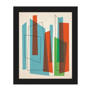 Broken Skyscrapers Blue Framed Canvas Wall Art