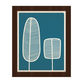 Feather Trees Blue Framed Canvas Wall Art Print