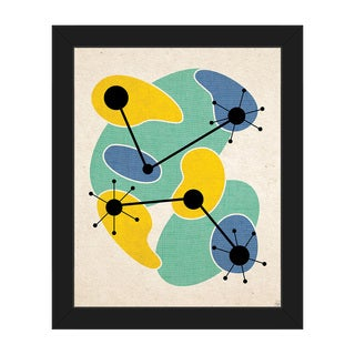 Life Synthesis Green Yellow Framed Canvas Wall Art
