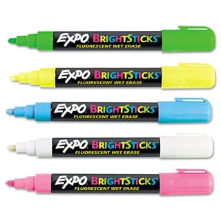 EXPO Bright Sticks Wet-Erase Fluorescent Marker Set Bullet Tip Assorted