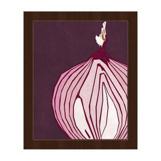 Large Sliced Onion Purple Framed Canvas Wall Art