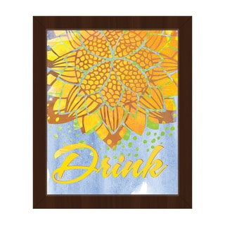 Lotus Drink Canary Framed Canvas Wall Art Print