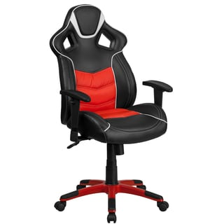 Largo High Back Black Leatherette with Red Vinyl Center Executive Adjustable Swivel Office Chair with Headrest