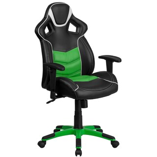 Largo High Back Black Leatherette with Green Vinyl Center Executive Adjustable Swivel Office Chair with Headrest