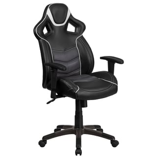 Largo High Back Black Leatherette With Gray Vinyl Center Executive Adjustable Swivel Office Chair with Headrest
