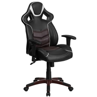 Largo High Back Black Leatherette With Brown Vinyl Center Executive Adjustable Swivel Office Chair with Headrest