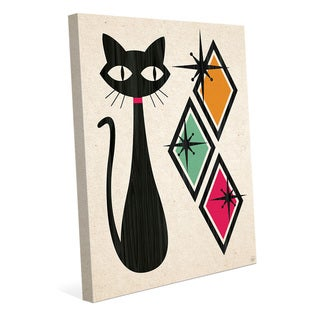 Retro Cat With Diamonds Orange Wall Art on Canvas