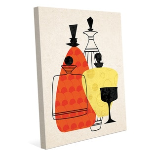 Retro Bottles Red & Yellow Wall Art Print - Canvas