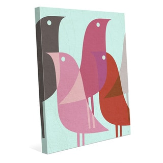 Retro Bird Caravan Pink Wall Art Print on Canvas