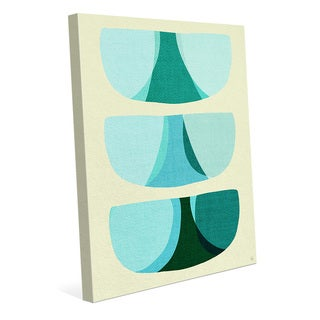 Retro Shape Art Blue Wall Art Print on Canvas