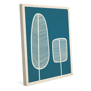 Feather Trees Blue Wall Art Print on Canvas