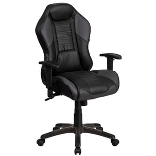 Nampa High Back Black Leatherette with Gray Inserts Executive Adjustable Swivel Office Chair with Headrest