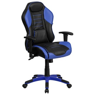 Nampa High Back Black Leatherette with Blue Inserts Executive Adjustable Swivel Office Chair with Headrest