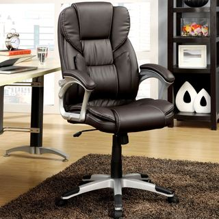 Plush Executive Dark Brown Swivel Adjustable Office Chair