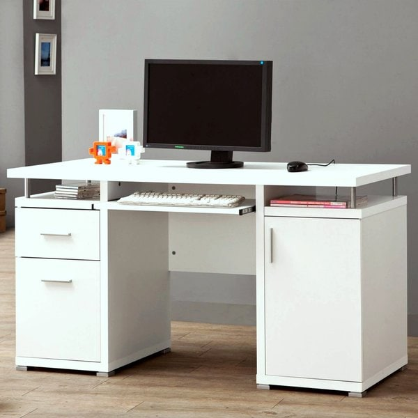 Modern Floating Top Design Home Office White Computer Desk with