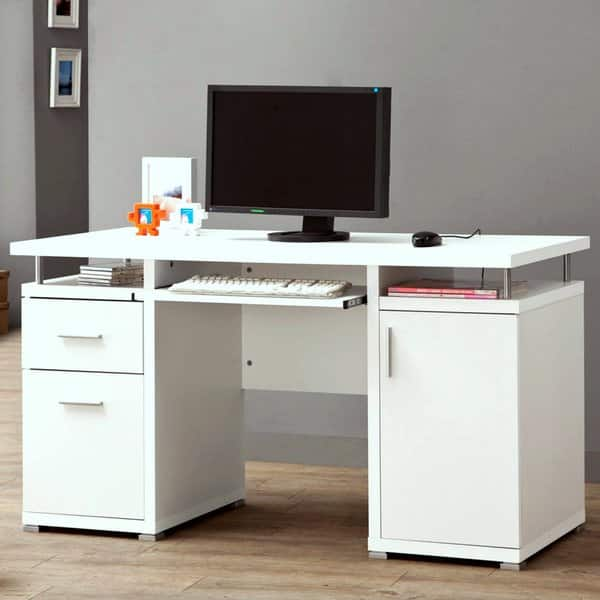 Modern Floating Top Design Home Office White Computer Desk with Drawers and  Cabinet