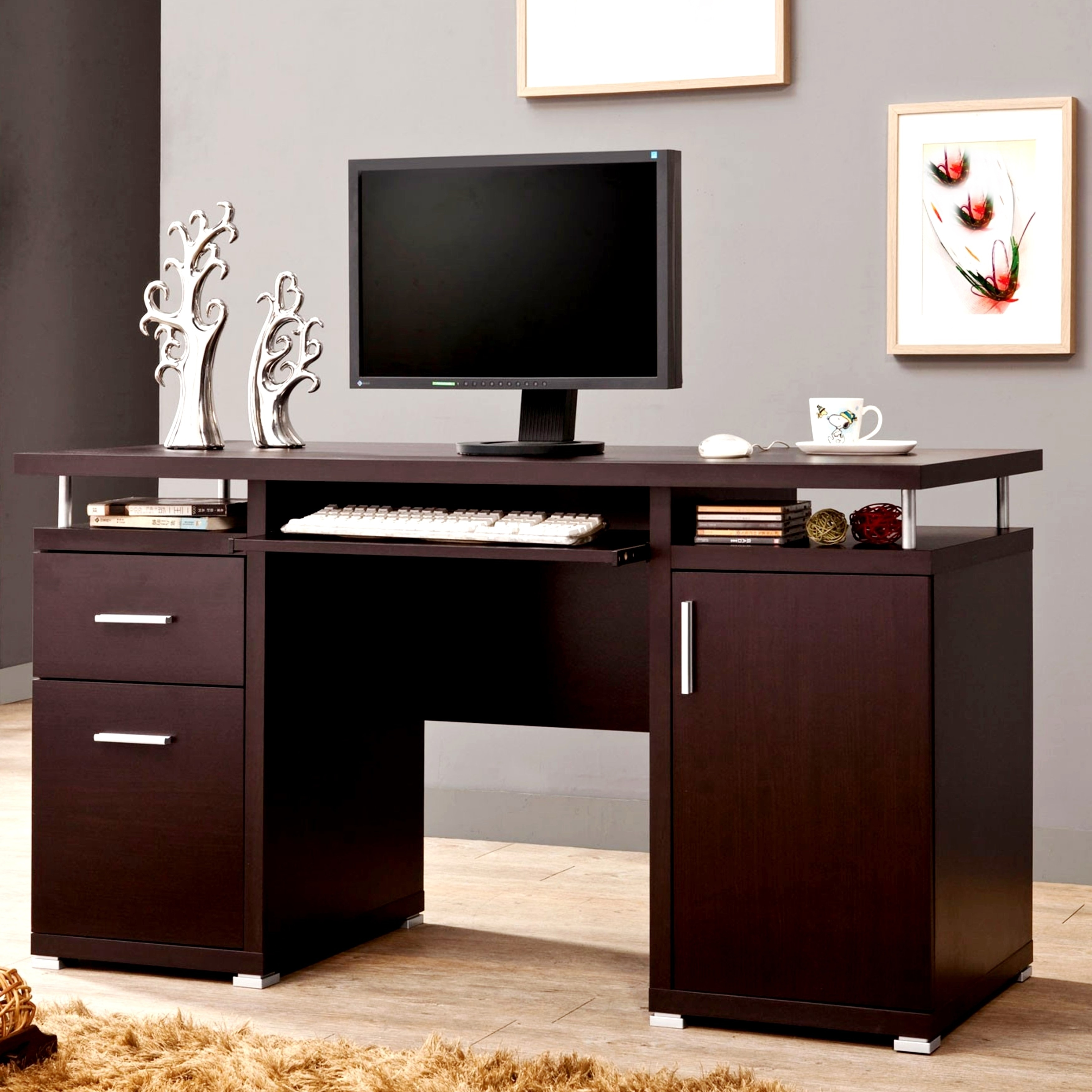 Modern Floating Top Design Home Office Cappuccino Compute...