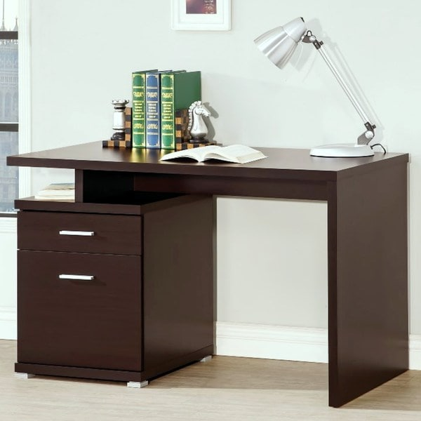 shop modern design home office cappuccino writing computer desk rh overstock com computer desk with locking file cabinet computer desk with lateral file cabinet