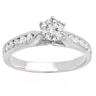 14k White Gold IGI-certified 1 1/4ct TDW Round White Diamond Engagement Ring (K-L, I1-I2)
