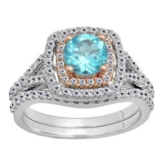 14k Two-tone Gold 1 7/8ct TW Blue Topaz and Diamond Accent Bridal Ring Set (I-J, I1-I2)