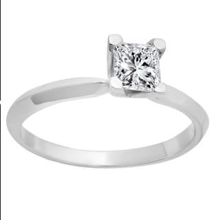 14k White Gold IGI-certified 1/2ct TDW Princess-cut Diamond Bridal Ring Set (L-M, S11-SI2)